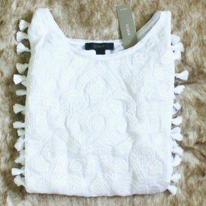 J Crew Linen Embroidered Tassel Top